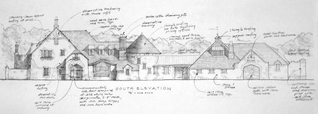pencil sketch - south elevation