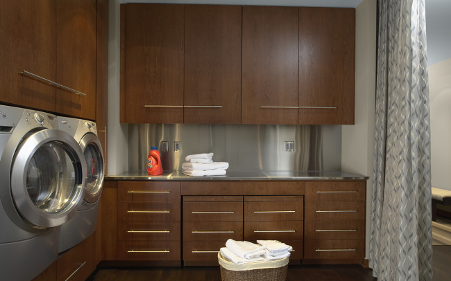 Downtown Riverfront Condo Laundry Room