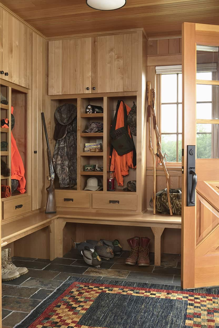 Inside the front door is a mudroom, with plenty of storage for outdoor gear.
