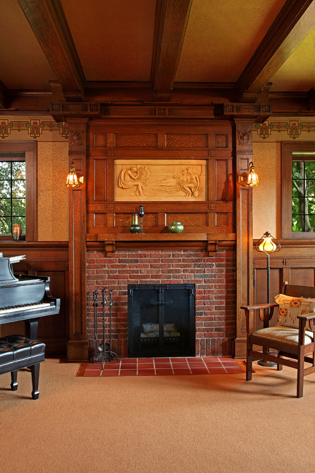 Historic fireplace classically restored david heide for Tudor style fireplace