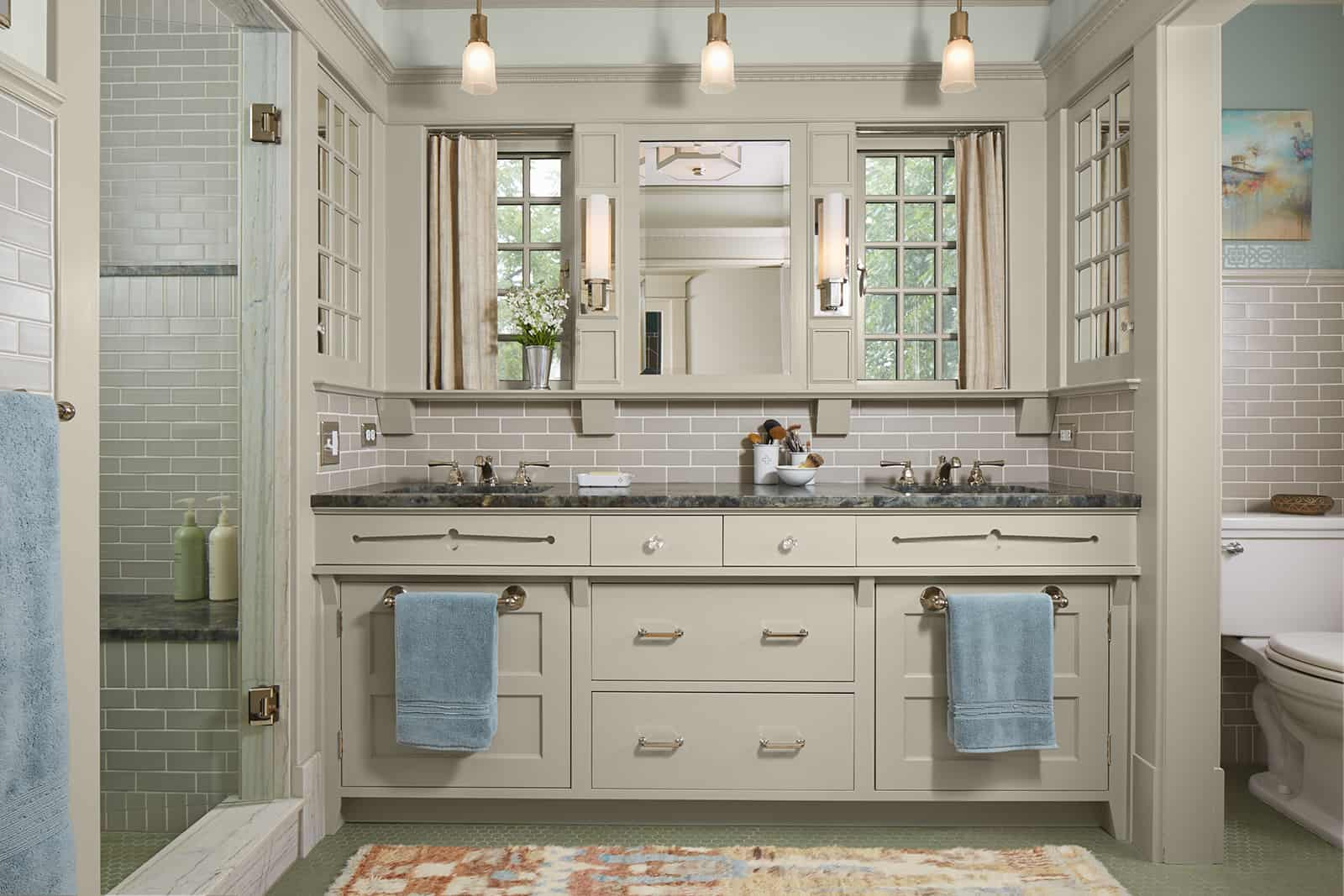 Master bathroom overview and custom vanity