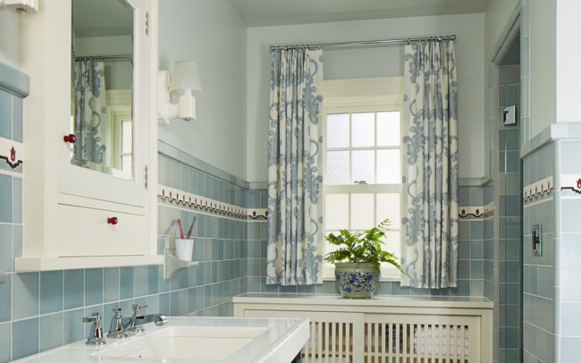 Master bath custom historic blue tile