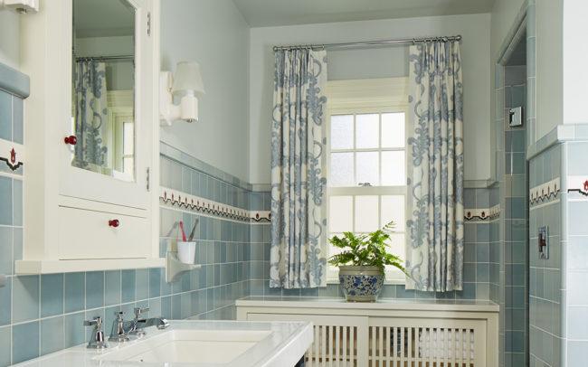 Master bath custom historic blue tile