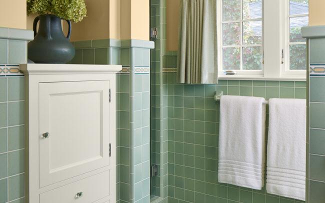 Custom historic green bath tile