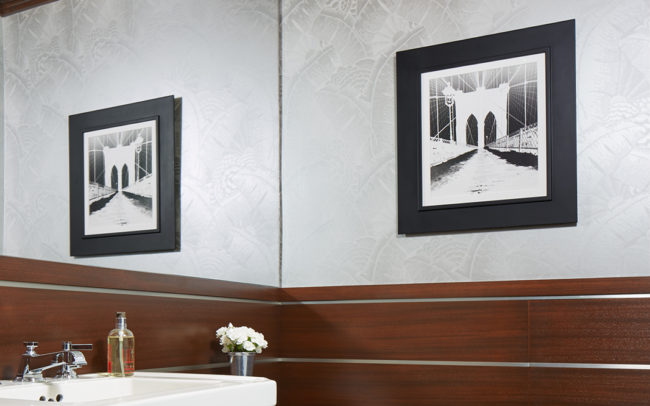 Powder room with metallic wall paper